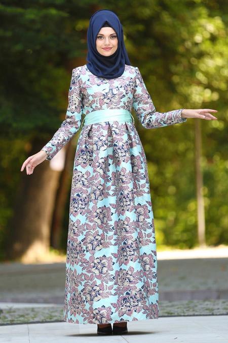 Tesettür Abiye Elbise - Jakarlı Çiçek Desenli Mint Tesettür Abiye Elbise 24412MINT