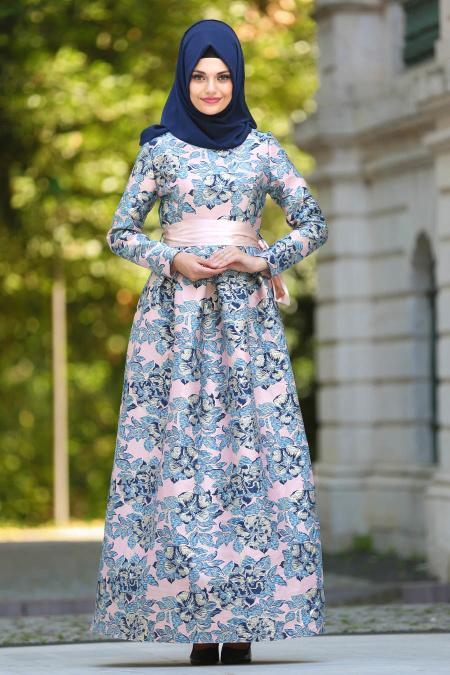 Tesettür Abiye Elbise - Jakarlı Çiçek Desenli Pudra Tesettür Abiye Elbise 24412PD