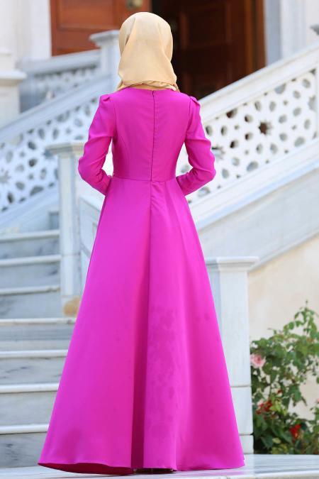 Tesettür Abiye Elbise - Önü Dantel Desenli Fuşya Abiye Elbise 2694F