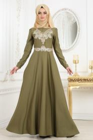 Tesettür Abiye Elbise - Önü Dantel Desenli Haki Abiye Elbise 2694HK - Thumbnail