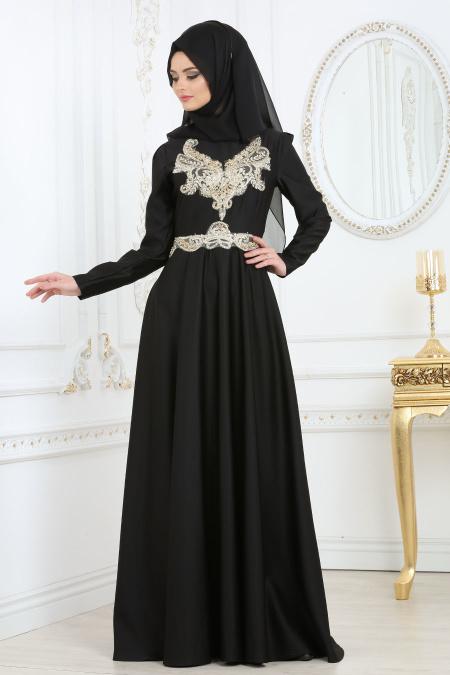Tesettür Abiye Elbise - Önü Dantel Desenli Siyah Abiye Elbise 2694S