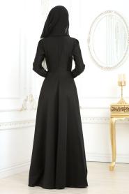 Tesettür Abiye Elbise - Önü Dantel Desenli Siyah Abiye Elbise 2694S - Thumbnail