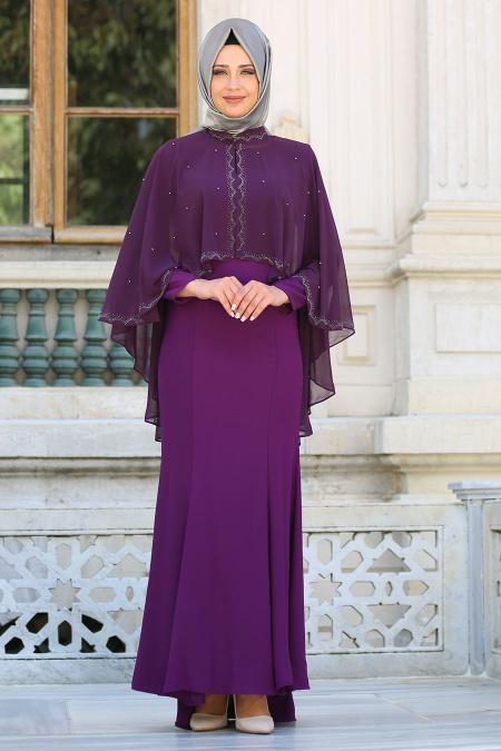 Tesettür Abiye elbise - Pelerinli Mor Tesettür Abiye Elbise 7612MOR