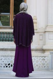 Tesettür Abiye elbise - Pelerinli Mor Tesettür Abiye Elbise 7612MOR - Thumbnail