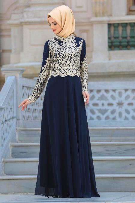 Tesettür Abiye Elbise - Üstü Dantel Detaylı Lacivert Abiye Elbise 3224L