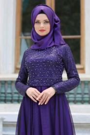 Tesettür Abiye elbise - Üstü İncilli Dantelli Mor Abiye Elbise 7545MOR - Thumbnail