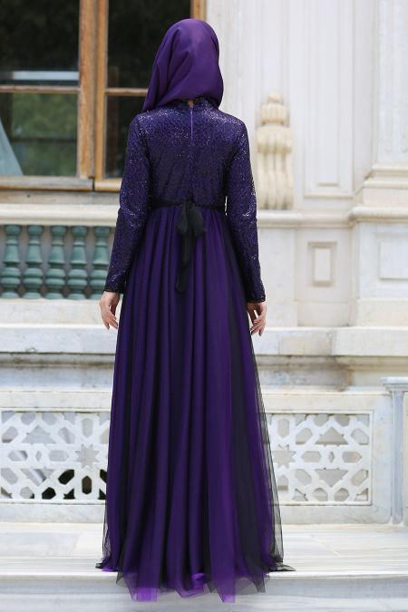 Tesettür Abiye elbise - Üstü İncilli Dantelli Mor Abiye Elbise 7545MOR