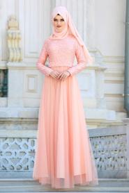 Tesettür Abiye elbise - Üzeri Boncuklu Dantelli Somon Abiye Elbise 75452SMN - Thumbnail