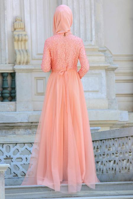 Tesettür Abiye elbise - Üzeri Boncuklu Dantelli Somon Abiye Elbise 75452SMN