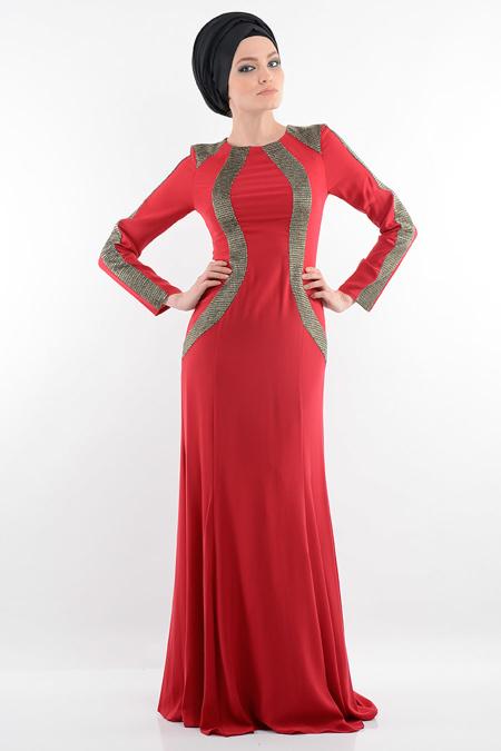 Bordo Tesettür Abiye Elbise 3885BR