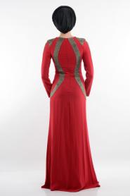 Bordo Tesettür Abiye Elbise 3885BR - Thumbnail
