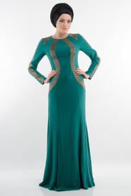 Yeşil Tesettür Abiye Elbise 3885Y - Thumbnail