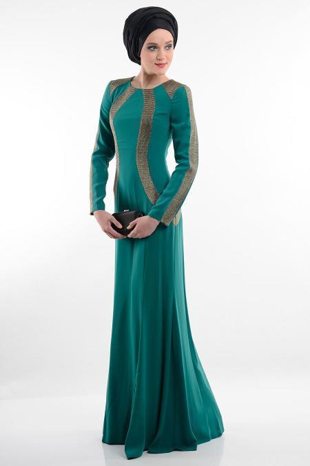Yeşil Tesettür Abiye Elbise 3885Y
