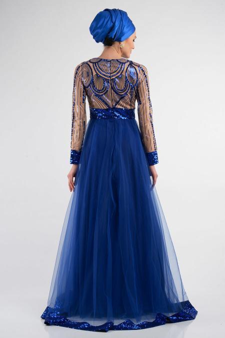 Sax Mavisi Tesettürlü Abiye Elbise