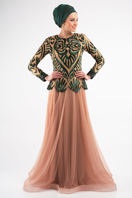 Yeşil Tesettür Abiye Elbise 4039Y