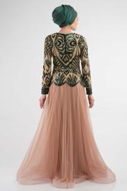 Yeşil Tesettür Abiye Elbise 4039Y - Thumbnail