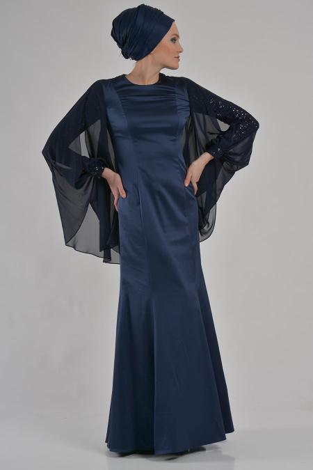 Lacivert Tesettür Abiye Elbise 3605L