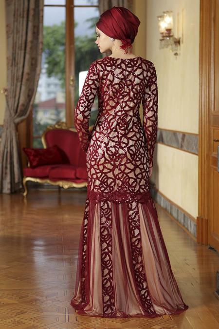 Bordo Tesettür Abiye Elbise 4120BR