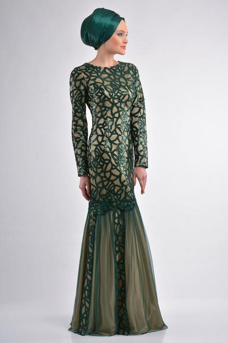 Yeşil Tesettür Abiye Elbise 4120Y