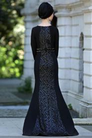 Siyah Tesettür Abiye Elbise 4131S - Thumbnail