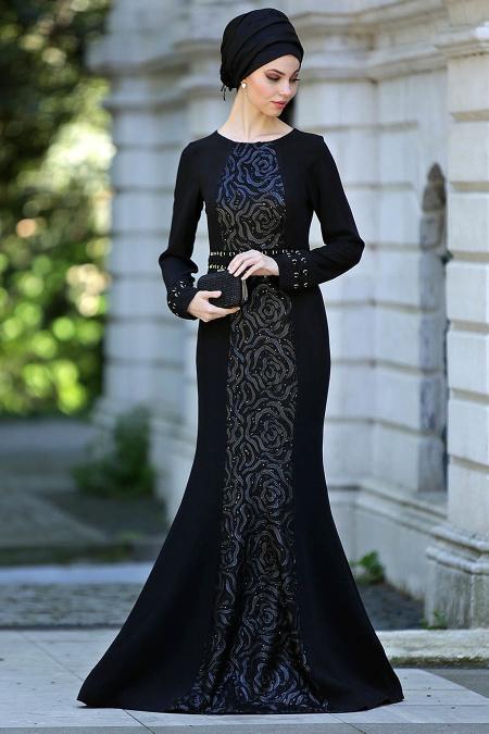 Siyah Tesettür Abiye Elbise 4131S