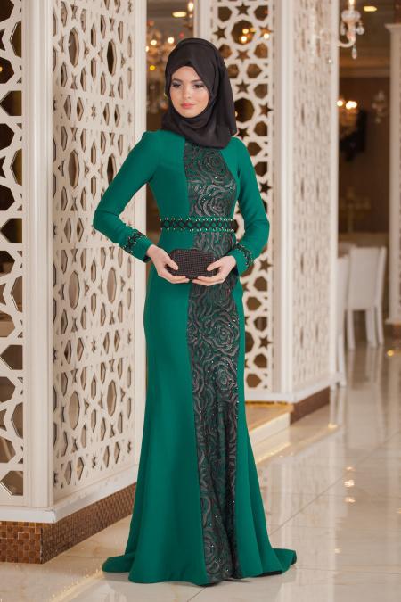Yeşil Tesettür Abiye Elbise 4131Y