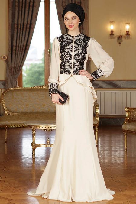 Ekru Siyah Tesettür Abiye Elbise 9003E