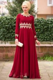 Bordo Tesettür Abiye Elbise 2116BR - Thumbnail
