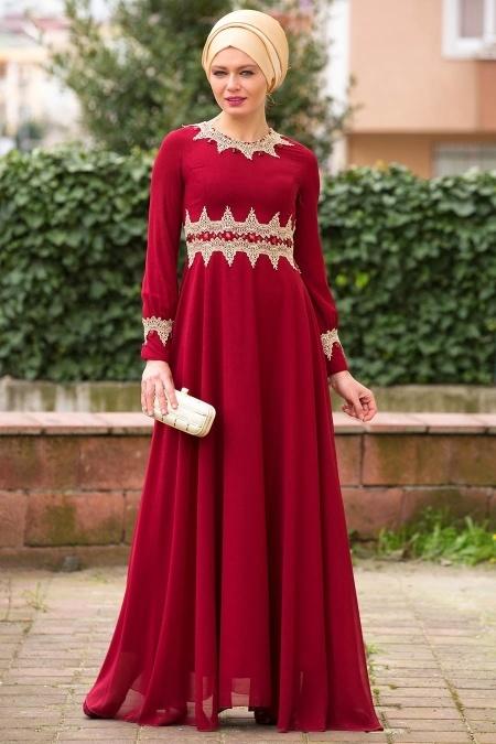 Bordo Tesettür Abiye Elbise 2116BR