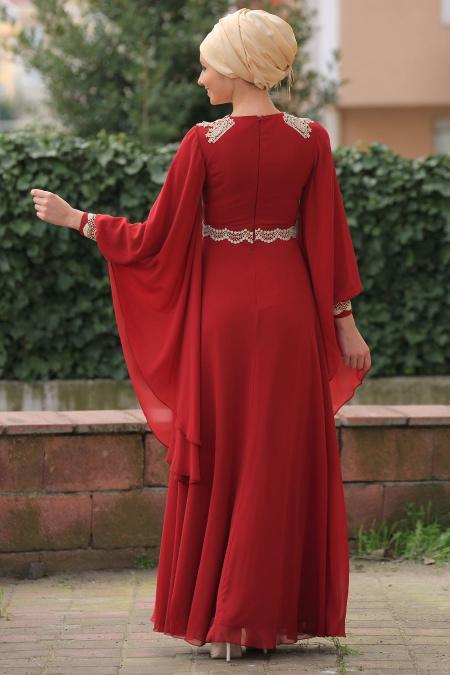 Bordo Tesettür Abiye Elbise 2133BR