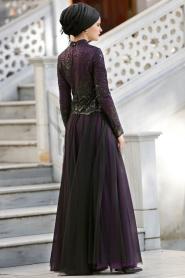 Mor Tesettür Abiye Elbise 2150MOR - Thumbnail