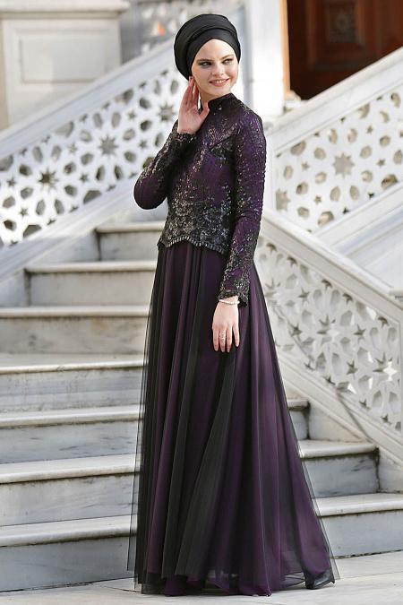 Mor Tesettür Abiye Elbise 2150MOR