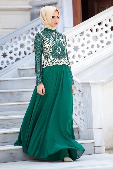 Yeşil Tesettür Abiye Elbise 2185-01Y