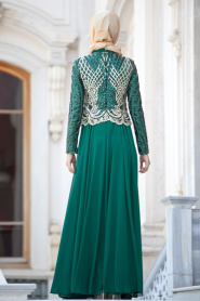 Yeşil Tesettür Abiye Elbise 2185-01Y - Thumbnail