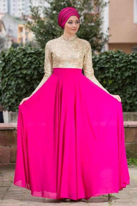 Fuşya Tesettür Abiye Elbise 2189F