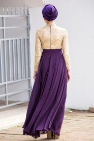 Mor Tesettür Abiye Elbise 2189MOR - Thumbnail