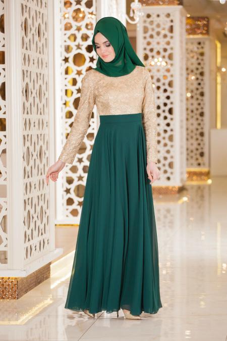 Yeşil Tesettür Abiye Elbise 2189Y