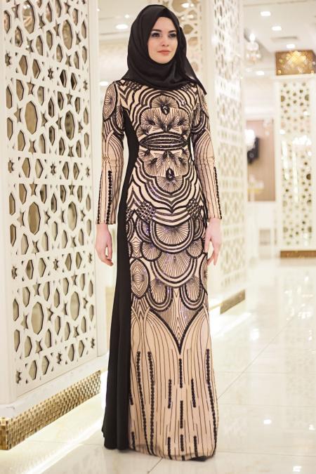 Siyah Tesettür Abiye Elbise 2188S