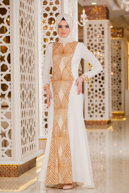 Beyaz Tesettür Abiye Elbise 2167B