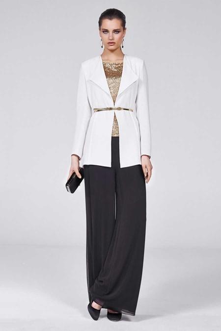 Beyaz Siyah Tesettür Abiye Elbise 9010E
