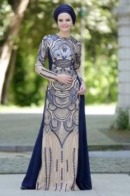 Lacivert Tesettür Abiye Elbise 2188L - Thumbnail