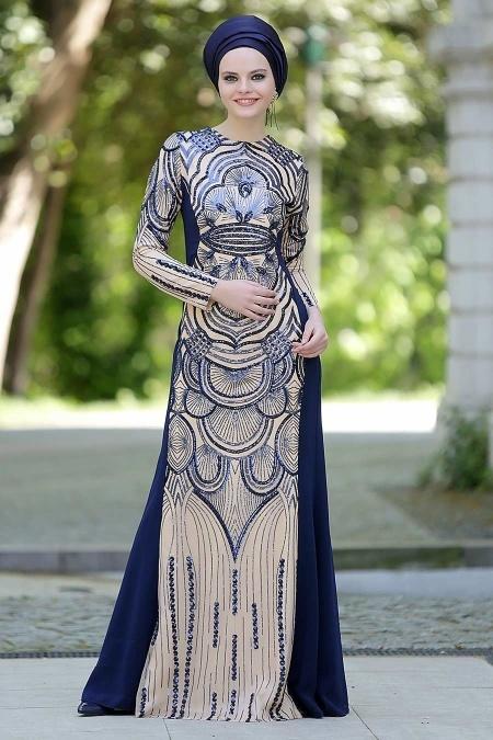 Lacivert Tesettür Abiye Elbise 2188L