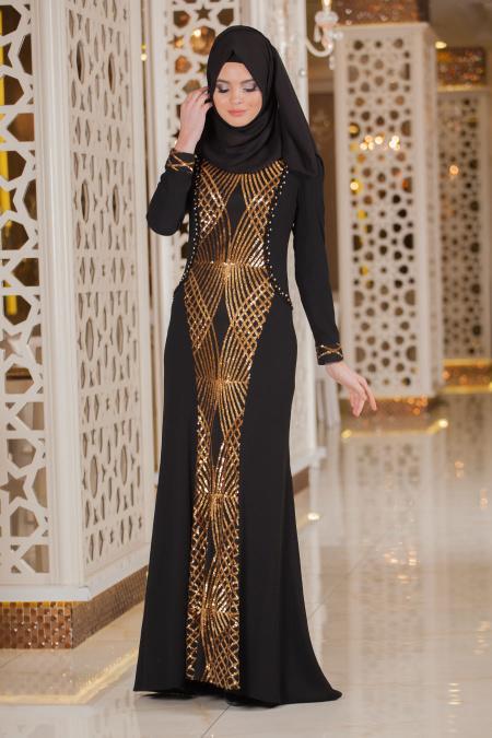 Siyah Tesettür Abiye Elbise 2167S