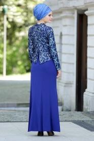 Sax Mavisi Tesettür Abiye Elbise 2131SX - Thumbnail