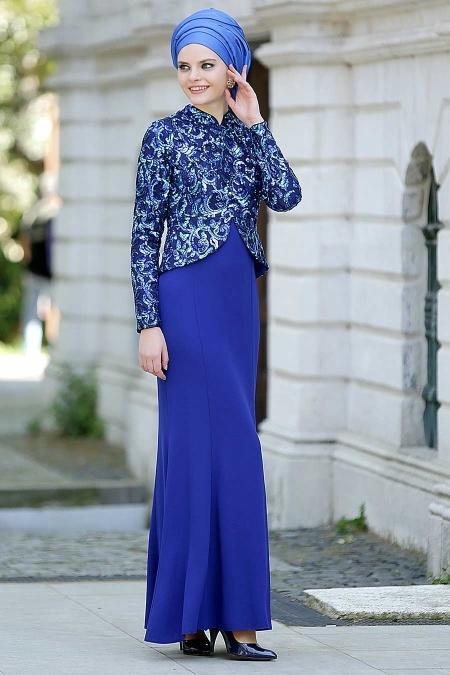 Sax Mavisi Tesettür Abiye Elbise 2131SX