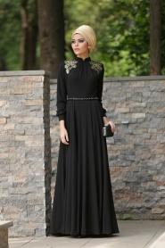 Siyah Tesettür Abiye Elbise 2156S - Thumbnail