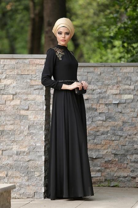Siyah Tesettür Abiye Elbise 2156S