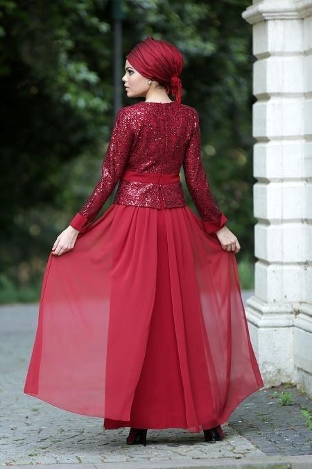 Bordo Tesettür Abiye Elbise 2201BR