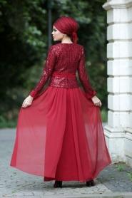 Bordo Tesettür Abiye Elbise 2201BR - Thumbnail