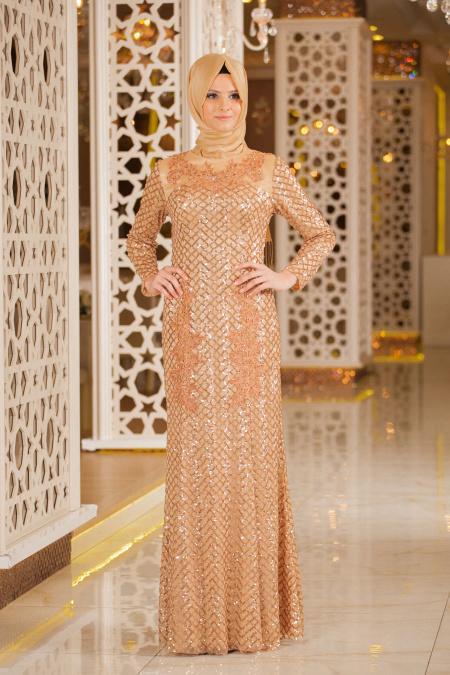Gold Tesettür Abiye Elbise 2224GOLD